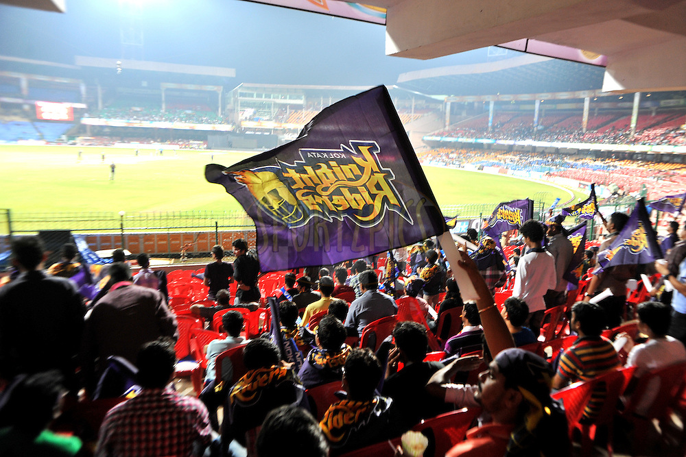 Fan of KKR during match 13 of the NOKIA Champions League T20 ( CLT20 ) between the Kolkata Knight riders and The Warriors held at the  M.Chinnaswamy Stadium in Bangalore , Karnataka, India on the 1st October 2011..Photo by Pal Pillai/BCCI/SPORTZPICS