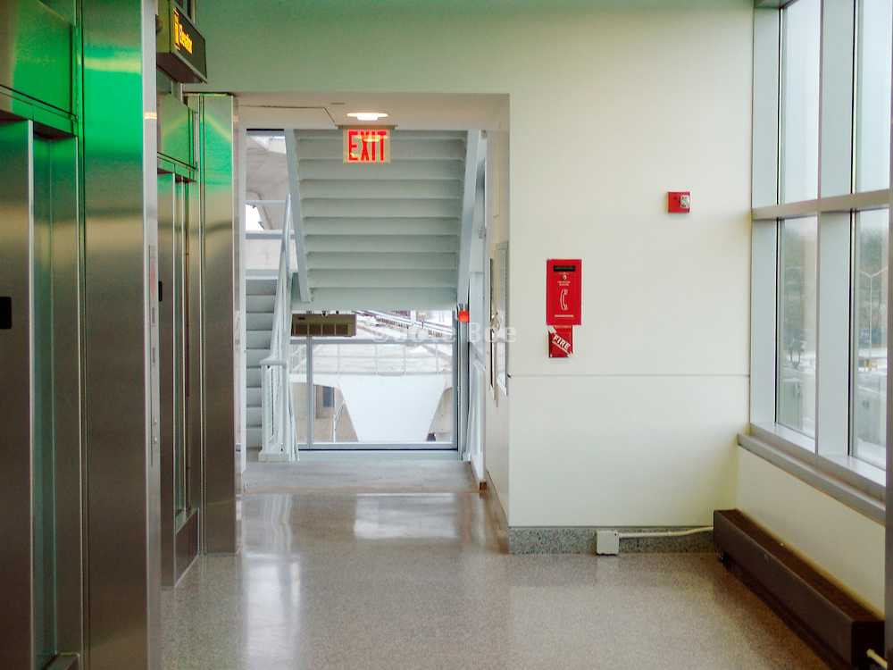 A public hallway in a clean new building.