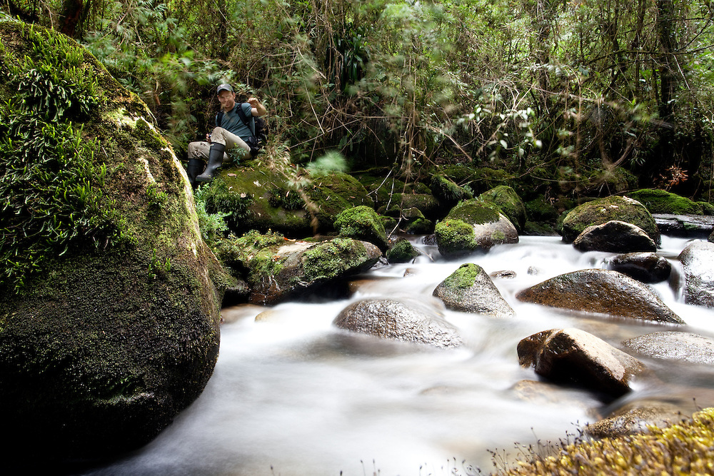 Don Church searches for Lost Frogs in a river near Sonson, Antioquia, Colombia