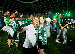 Supporters of Olimpija celebrate after winning during football match between NK Aluminij and NK Olimpija Ljubljana in the Final of Slovenian Football Cup 2017/18, on May 30, 2018 in SRC Stozice, Ljubljana, Slovenia. Photo by Vid Ponikvar / Sportida