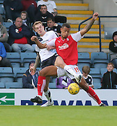 Dundee's Kevin Holt  battles for the ball with Rotherham United's Jonson Clarke-Harris  - Dundee v Rotherham United - pre-season friendly at Dens Park <br /> <br />  - &copy; David Young - www.davidyoungphoto.co.uk - email: davidyoungphoto@gmail.com