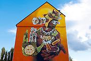 Europe, Germany, North Rhine-Westphalia, Cologne, mural by the streetart artist INTI at a building at the Vogelsanger Street, the painting was created during the first City Leaks Festival in September 2011...Europa, Deutschland, Nordrhein-Westfalen, Koeln, Graffiti des Streetart Kuenstlers INTI an einem Haus in der Vogelsanger Strasse, das Wandgemaelde entstand  waehrend des 1. City Leaks Festivals im September 2011. ***HINWEIS ZU DEN ABGEBILDETEN KUNSTWERKEN - RECHTE DRITTER SIND VOM NUTZER ZU KLAEREN*** ***PLEASE NOTE: THIRD PARTY RIGHTS OF THE SHOWN WORK OF ART MUST BE CHECKED BY THE USER***