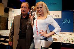 Srecko Coz and Klara Kroselj Miss Sports of Slovenia 2013, on April 20, 2013, in Festivalna dvorana, Ljubljana, Slovenia. (Photo by Urban Urbanc / Sportida.com)