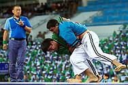 Ashgabat, Turkmenistan - 2017 September 23:<br /> while Belt Wrestling competition during 2017 Ashgabat 5th Asian Indoor & Martial Arts Games at Main Indoor Arena (MIA) at Ashgabat Olympic Complex on September 23, 2017 in Ashgabat, Turkmenistan.<br /> <br /> Photo by © Adam Nurkiewicz / Laurel Photo Services