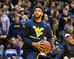 Feb 22, 2016; Morgantown, WV, USA; West Virginia Mountaineers forward Esa Ahmad (23) warms up before their game against the Iowa State Cyclones at the WVU Coliseum. Mandatory Credit: Ben Queen-USA TODAY Sports