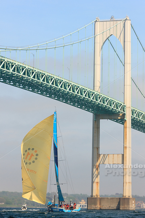 Vestas- 11th hour racing on the downwind leg under the Newport bridge in a beautiful filtered light.