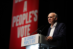© Licensed to London News Pictures. 09/12/2018. London, UK. Liberal Democrat leader Vince Cable MP speaks at a People's Vote rally at the Excel Centre in London. MPs will vote on Prime Minister Theresa May's proposed Brexit deal in the coming week. Photo credit: Rob Pinney/LNP
