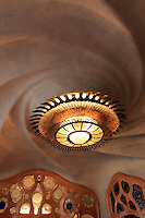 Swirling roof designs of Casa Battlo in downtown Barcelona, Spain, one of Antoni Gaudi's most famous buildings.