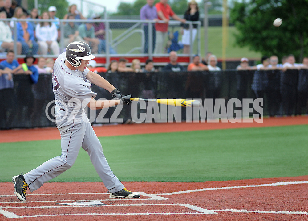 Holy Cross James Farrell #27 hits the game winning 3 run home run against Gill St. Bernard's in the sixth inning of the NJSIAA South Jersey Non-Public B championship baseball game Tuesday June 7, 2016 at Rutgers University in Piscataway, New Jersey. Holy Cross defeated Gill St. Bernard's 4-3. (Photo by William Thomas Cain)