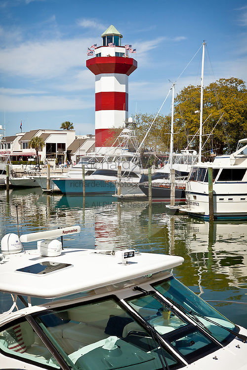 Boats in the marina at Harbour Town Lighthouse Sea Pines Resort in Hilton Head Island, GA.