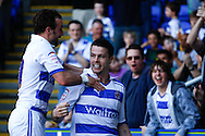 Picture by Andrew Tobin/Focus Images Ltd. 07710 761829. 24/03/12 Ian Harte of Reading celebrates after scoring his first goal with Noel Hunt of Reading during the Npower Championship match at Madejski stadium, Reading.
