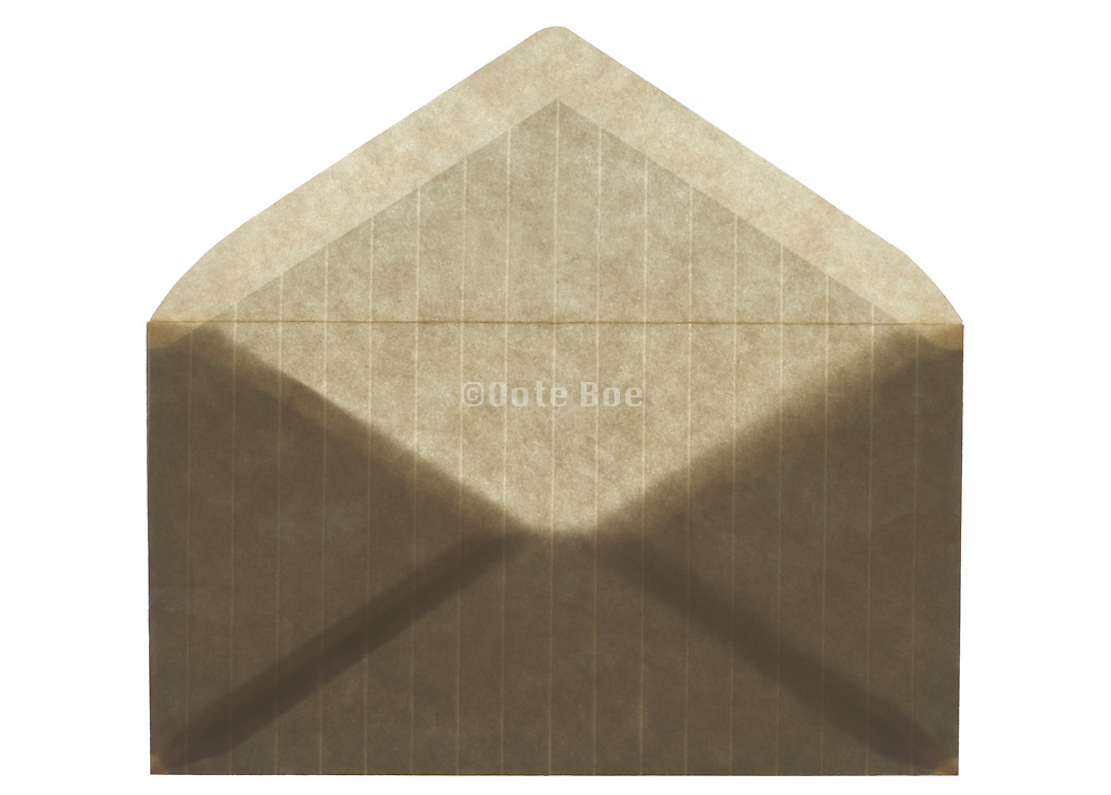 front view of an stripped brown colored envelope open