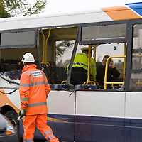 Perth Bus Crash....16.11.2009.<br /> Bus passenger Barbara Campbell talking with a police officer from inside the open sided bus after its collision with a lorry.<br /> (Please see Gordon Currie story 01738 446766).<br /> <br /> NO BYLINE TO BE USED WITH IMAGE.<br /> COPYRIGHT: Perthshire Picture Agency.<br /> Tel. 01738 623350 / 07775 852112.