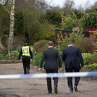 Suspicious Death, Balbeggie, Perthshire....24.05.14<br /> Officers from Police Scotland pictured at Croft Park in Balbeggie after the body of 49 year old Alan Gardner was discovered yesterday.<br /> Picture by Graeme Hart.<br /> Copyright Perthshire Picture Agency<br /> Tel: 01738 623350  Mobile: 07990 594431