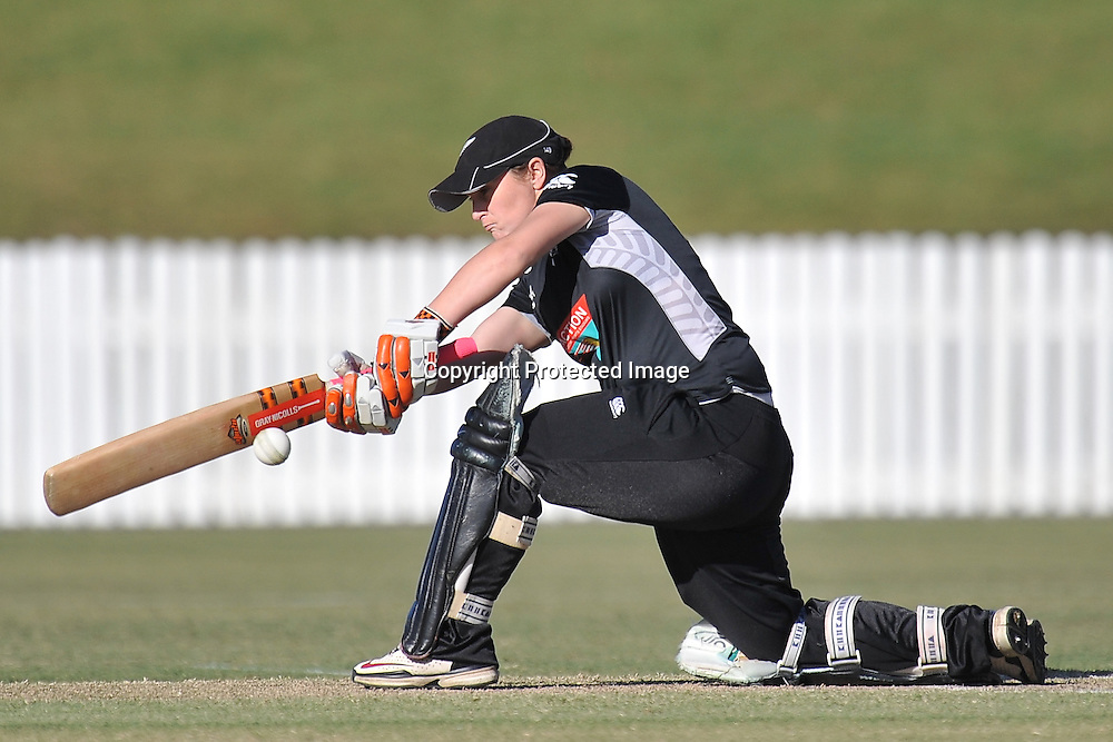 Katey Martin plays a sweep shot for New Zealand ~ Game 7 (ODI) of the Rose Bowl Trophy Cricket played between Australia and New Zealand at Alan Border Field in Brisbane (Australia) ~ Thursday 16th June 2011 ~ Photo : Steven Hight (AURA Images) / Photosport