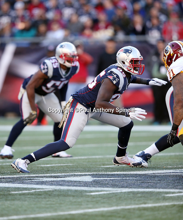 New England Patriots defensive end Chandler Jones (95) chases the action during the 2015 week 9 regular season NFL football game against the Washington Redskins on Sunday, Nov. 8, 2015 in Foxborough, Mass. The Patriots won the game 27-10. (©Paul Anthony Spinelli)