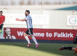 Hearts James Keatings cele scoring their third goal.<br /> Falkirk 0 v 3 Hearts, Scottish Championship game played 21/3/2015 at The Falkirk Stadium.