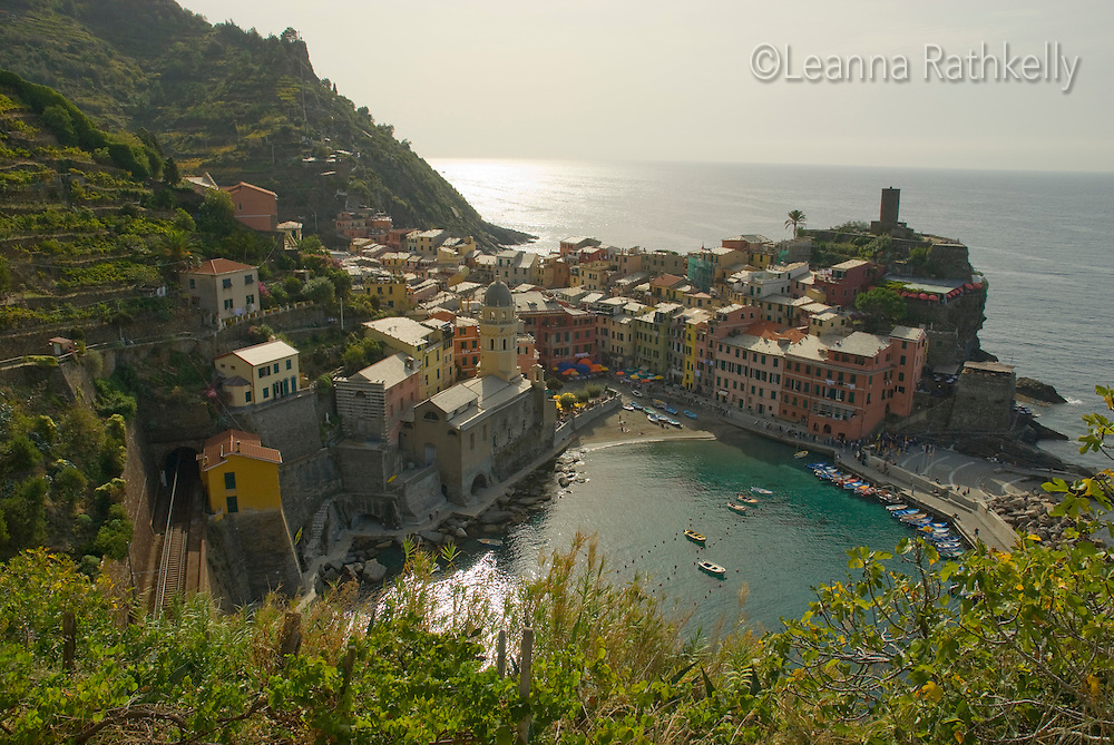 Vernazza, Cinque Terre, Italy, as seen from the trail to Monterosso.