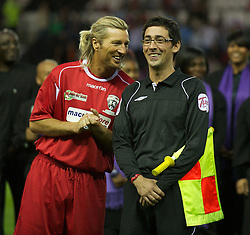 DERBY, ENGLAND - Thursday, September 8, 2011: Wales Legends' Robbie Savage with Colin Murray against England Legends during a legends match at Pride Park. (Pic by David Rawcliffe/Propaganda)