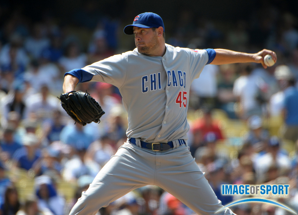 Jul 10, 2010; Los Angeles, CA, USA; Chicago Cubs reliever Sean Marshall (45) pitches during the game against the Los Angeles Dodgers at Dodger Stadium. The Cubs defeated the Dodgers 7-3. Photo by Image of Sport