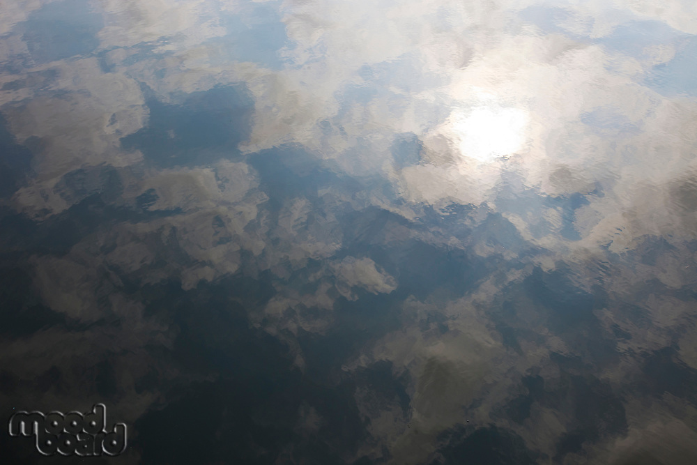 Close up cloud reflection in water