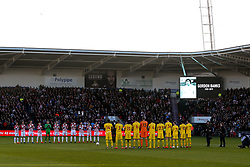 Doncaster Rovers and Crystal Palace observe a minutes silence for Gordon Banks - Mandatory by-line: Robbie Stephenson/JMP - 17/02/2019 - FOOTBALL - The Keepmoat Stadium - Doncaster, England - Doncaster Rovers v Crystal Palace - Emirates FA Cup fifth round proper