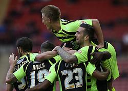 Yeovil celebrate Joel Grant's goal - Photo mandatory by-line: Matt Bunn/JMP - Tel: Mobile: 07966 386802 14/12/2013 - SPORT - Football - Barnsley - Oakwell - Barnsley v Yeovil Town - Sky Bet Championship