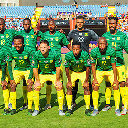 South Africa team picture (back row l-r) Sifiso Hlanti, Buhle Mkhwanazi, Thamsanqa Mkhize, Ronwen Williams, Thulani Hlatshwayo (front row l-r) Lebohang Maboe, Percy Tau, Dean Furman, Themba Zwane, Kamohelo Mokotjo, Lebo Mothiba during the 2019 Africa Cup of Nations Finals game between Ivory Coast and South Africa at Al Salam Stadium in Cairo, Egypt on 24 June 2019  <br /> Photo : Icon Sport
