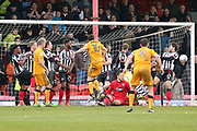 Port Vale midfielder David Worrall (10) shoots at goal  during the EFL Sky Bet League 2 match between Grimsby Town FC and Port Vale at Blundell Park, Grimsby, United Kingdom on 10 March 2018. Picture by Mick Atkins.