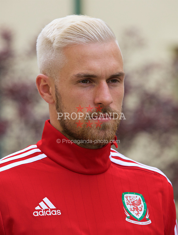 CARDIFF, WALES - Wednesday, June 1, 2016: Wales' Aaron Ramsey films for S4C at the Vale Resort Hotel ahead of the International Friendly match against Sweden. (Pic by David Rawcliffe/Propaganda)