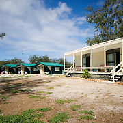 The accommodations at Lady Elliot island are basic. At left are tents. At right are bunk rooms.