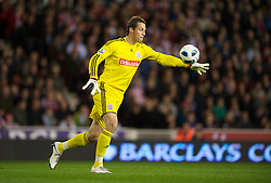 STOKE, ENGLAND - Monday, September 13, 2010: Stoke City's goalkeeper Thomas Sorensen in action against Aston Villa during the Premiership match at the Britannia Stadium. (Photo by David Rawcliffe/Propaganda)