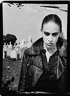 August 1989:  Portrait of Diamanda Galas in Calvary Cemetary in Queens, New York...Copyright 2010 Catherine McGann