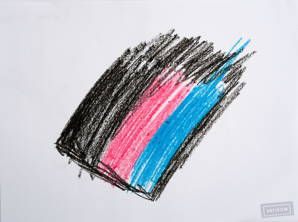 Drawing by Leen, blond girl, wanted to play guitar. The one with only black, blue and red colors didn't want to draw at first. And we told her she can express her emotions in an abstract painting just with colors.
