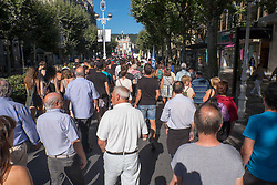 "@Licensed to London News Pictures 17/08/17. San Sebastian, Basque Country, Spain. Protestors leading an anti-tourism march today through the crowded streets of the Basque town of San Sebastian in Spain. The banner translation from Basque is "" Your tourism is the misery of the young"". Following on from similar demonstrations in Barcelona protestors in San Sebastian are protesting against the  over-tourism of their country.  Photo credit: Manu Palomeque/LNP"