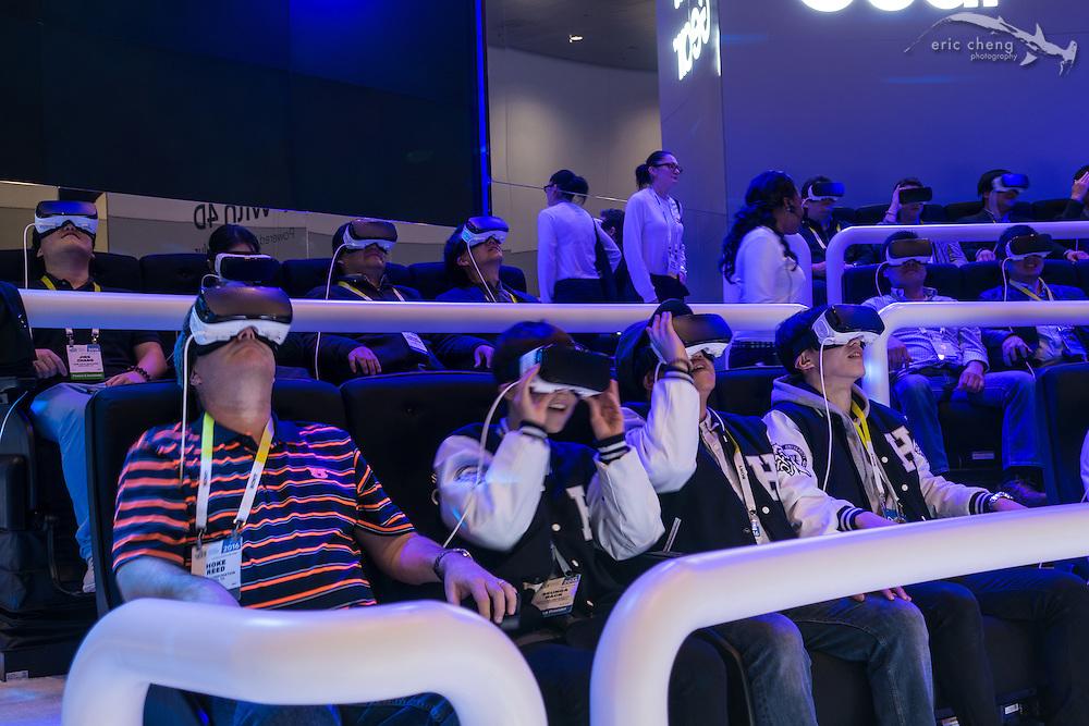 VR rollercoaster demo at Samsung Galaxy / GearVR booth. CES 2016, Las Vegas.