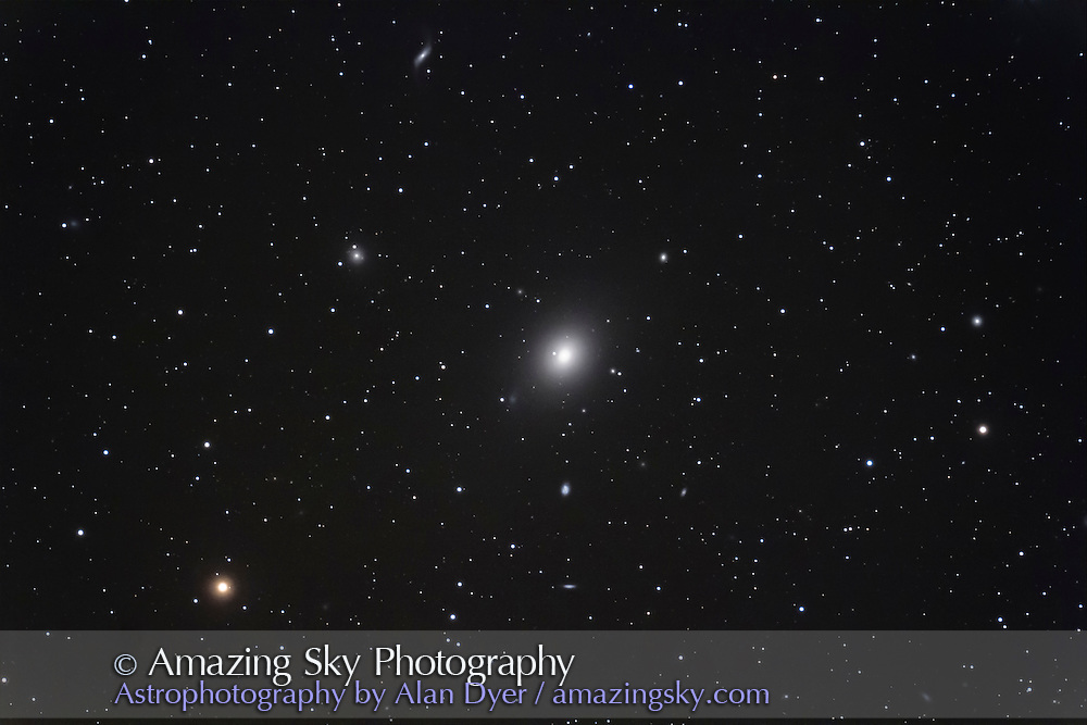 M49, elliptical galaxy in Virgo. This is a stack of 4 x 10 minute exposures at ISO 800 with the Canon 60Da on the Astro-Physics 130mm apo refractor at f/6. Galaxy below M49 is NGC 4610, one at left is NGC 4492, and spiral at top is NGC 4488