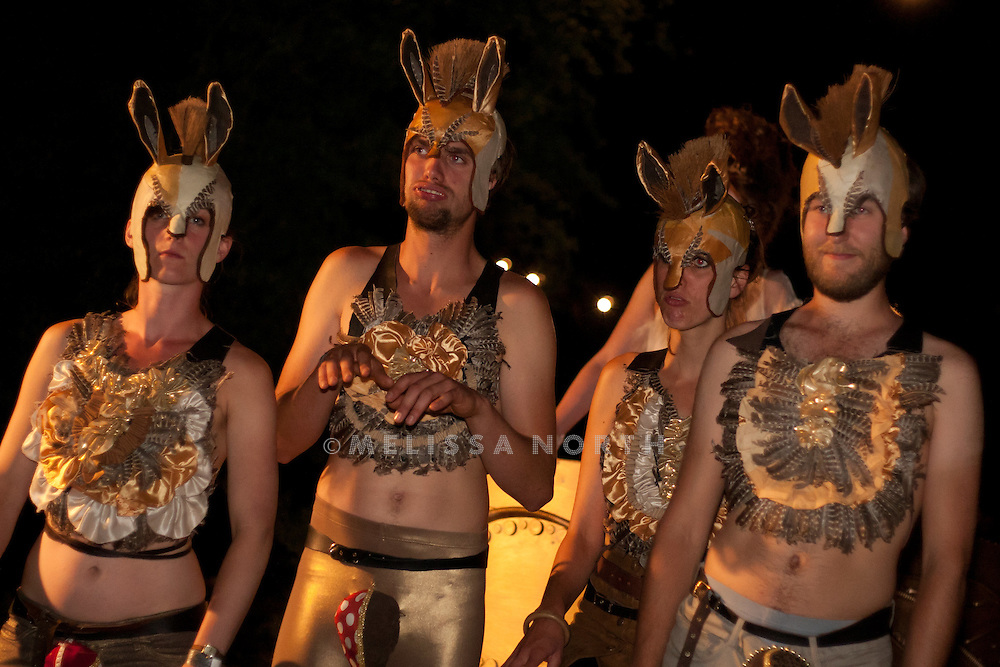 Festival goers dress up for Gods & Monsters fancy dress theme at Standon Calling, Herts on 13 August 2011. JPH/B2779
