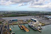 Nederland, Zeeland, Vlissingen, 23-10-2013; Sloehaven, Damen Shipyards en auto-overslag Cobelfret met de RoRo Terminal vol auto's die wachten op vervoer.<br /> Port of Vlissingen, the roro terminal of Cobelfret Car transshipment.<br /> luchtfoto (toeslag op standaard tarieven);<br /> aerial photo (additional fee required);<br /> copyright foto/photo Siebe Swart.