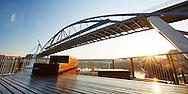 Sunrise framed by the Goodwill Bridge, Brisbane, Australia.