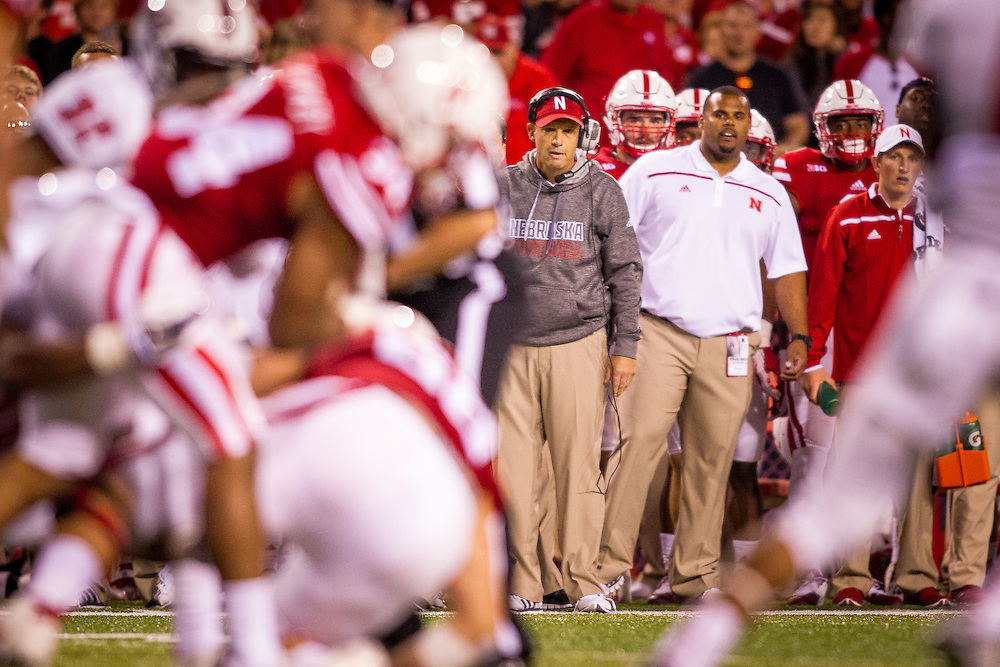 September 12, 2015: Head coach Mike Riley watches the play against the South Alabama Jaguars at Memorial Stadium in Lincoln, Nebraska.  Nebraska 48 South Alabama 9.