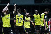 Burton Albion forward Liam Boyce (27) scores his second goal of the game and celebrates 2-0 during the EFL Cup match between Burton Albion and Morecambe at the Pirelli Stadium, Burton upon Trent, England on 27 August 2019.