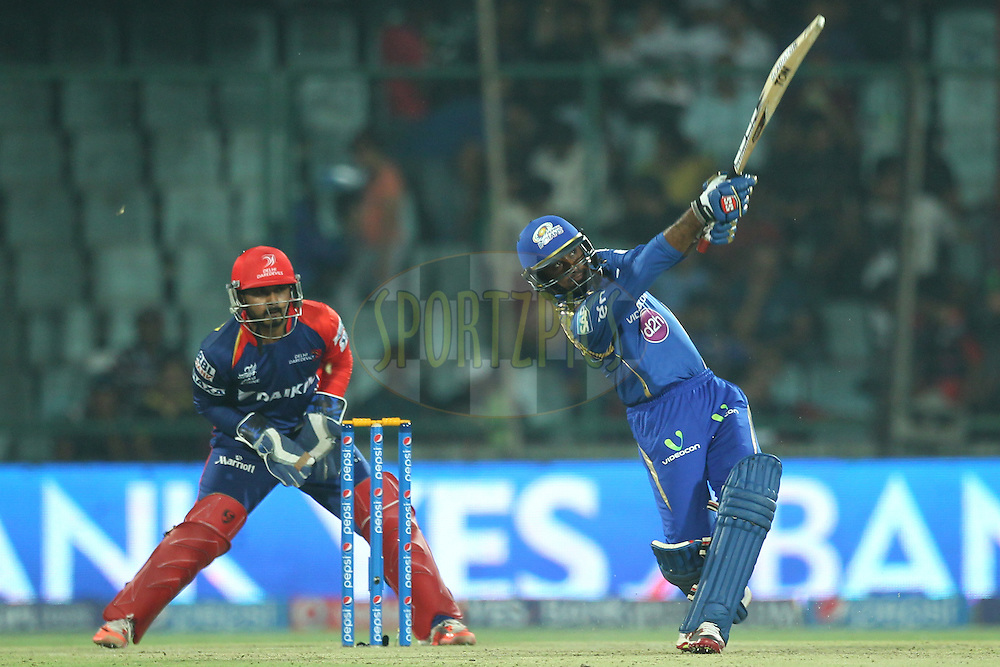 Ambati Rayudu of the Mumbai Indians bats during match 21 of the Pepsi IPL 2015 (Indian Premier League) between The Delhi Daredevils and The Mumbai Indians held at the Ferozeshah Kotla stadium in Delhi, India on the 23rd April 2015.<br /> <br /> Photo by:  Deepak Malik / SPORTZPICS / IPL