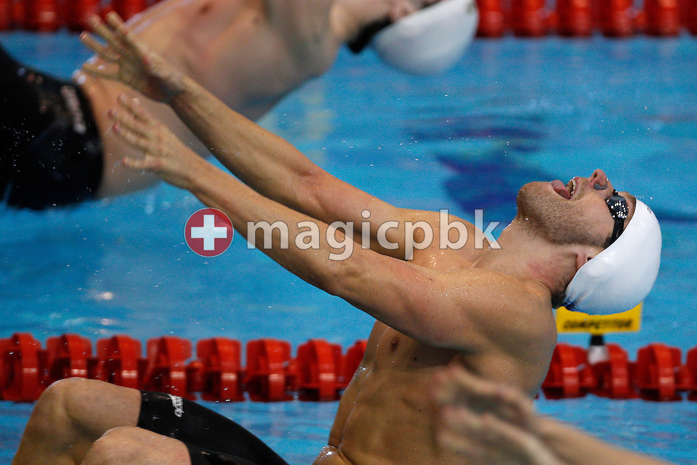 Helge Meeuw of Germany competes in the men's 100m Backstroke Heats during the 31st LEN European Swimming Championships in Debrecen, Hungary, Monday, May 21, 2012. (Photo by Patrick B. Kraemer / MAGICPBK)