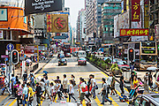 Nathan Road shopping district in Kowloon, Hong Kong.