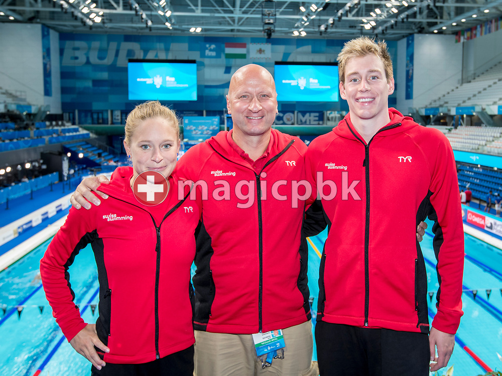 (L-R) LIMM's swimmer Martina van Berkel, coach Dirk Reinicke and swimmer Yannick Kaeser of Switzerland pose for a photo during the swimming events of the 17th Fina World Championships held at the Duna Arena in Budapest, Hungary, Saturday, July 29, 2017. (Photo by Patrick B. Kraemer / MAGICPBK)