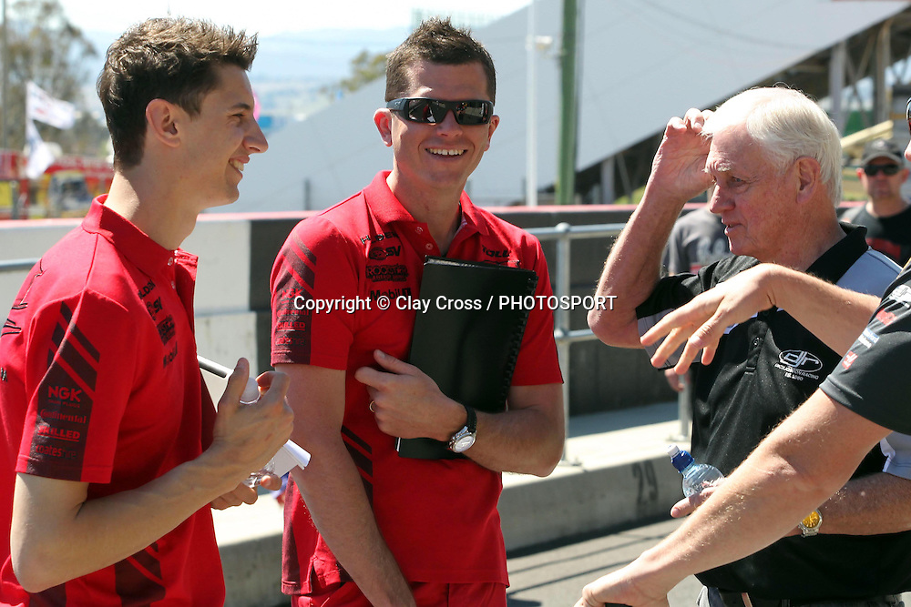 Nick Percat with Garth Tander and Dick Johnson. 2012 Supercheap Auto Bathurst 1000 ~ Race 21 2012 V8 Supercar Championship Series. Mount Panorama, Bathurst on Wednesday 3 October 2012. Photo: Clay Cross / photosport.co.nz