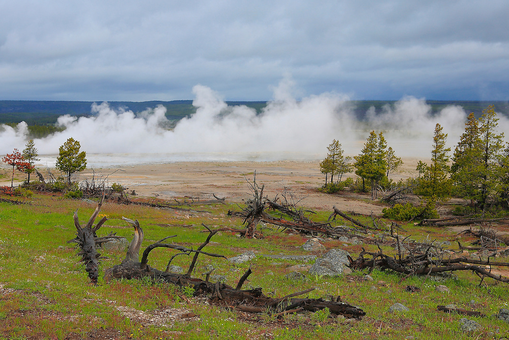 Steaming Geyser Pools And Storm Clouds - Yellowstone National Park