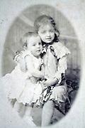 studio portrait two little children late 1800s