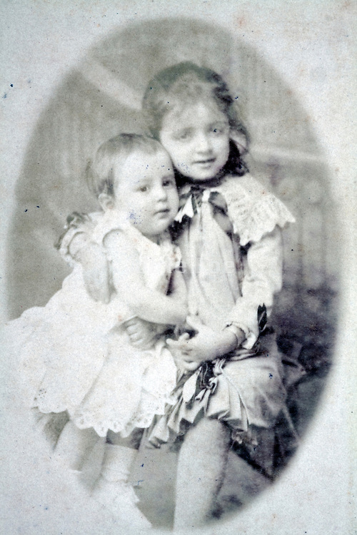 studio portrait two little children late 1800s
